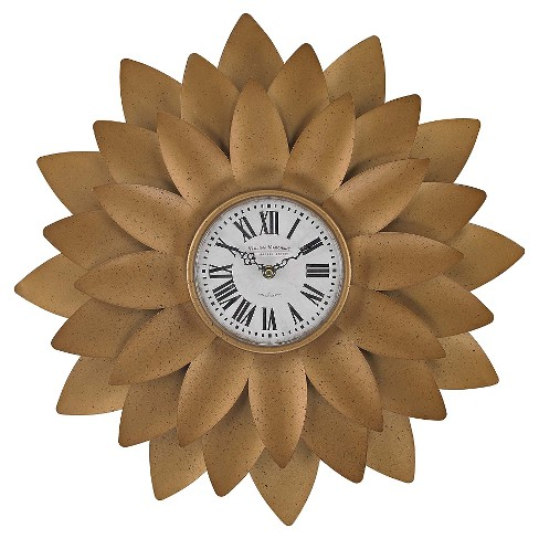 "Flower 20"" Wall Clock Gold - Lazy Susan® - image 1 of 1"