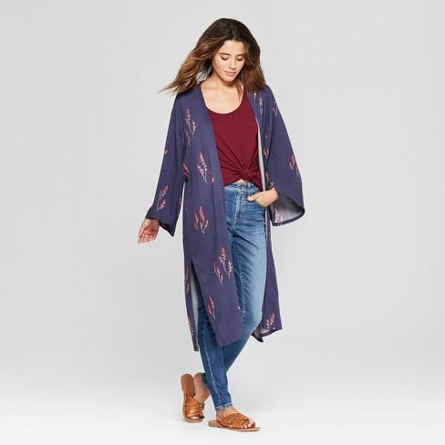 521daf781a7 Women s Floral Print Long Sleeve Kimono Jacket - Universal Thread™ Navy    Target