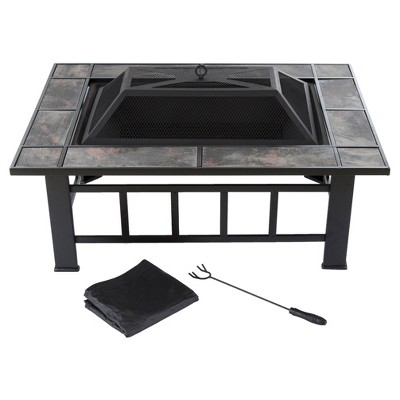 37  Rectangular, Wood Burning Tile Fire Pit With Cover - Black - Pure Garden