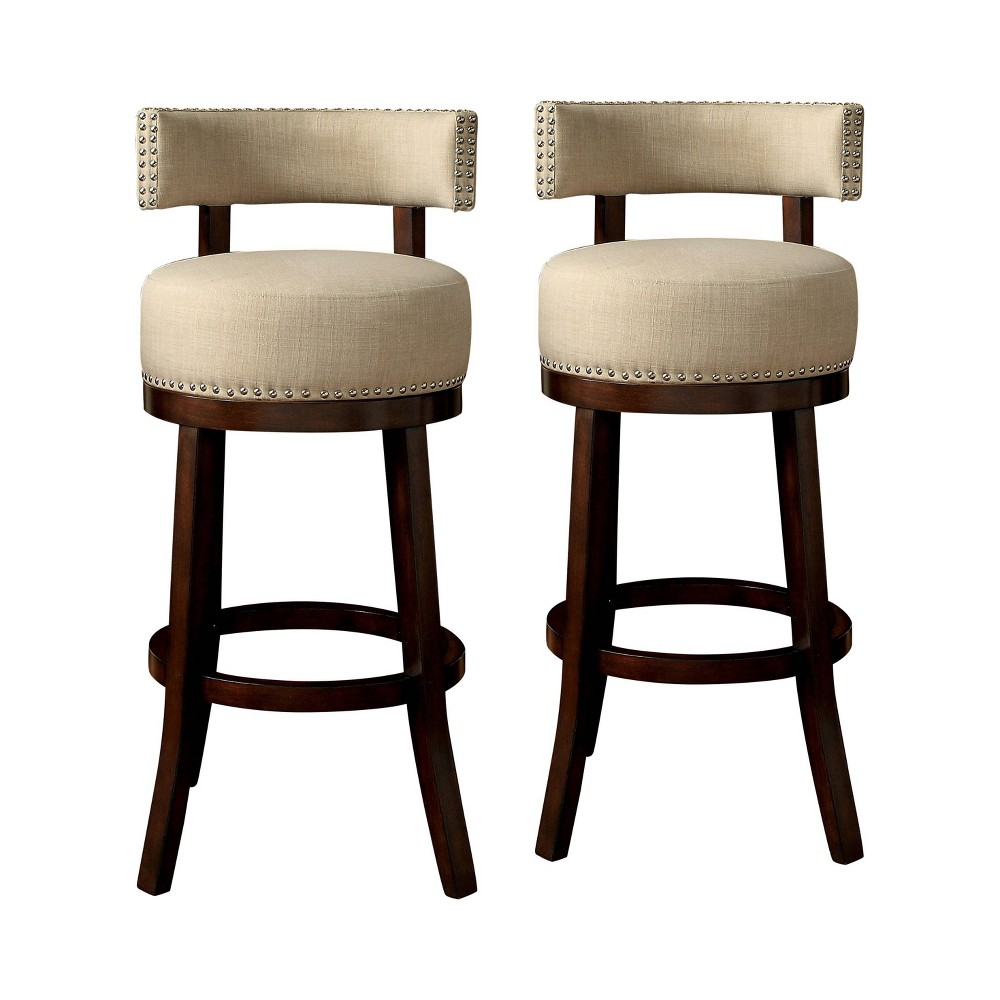 "Image of ""24"""" Set of 2 Jefferson Barstool Upholstered Seat Dark Oak/Beige - ioHOMES, Dark Brown/Beige"""