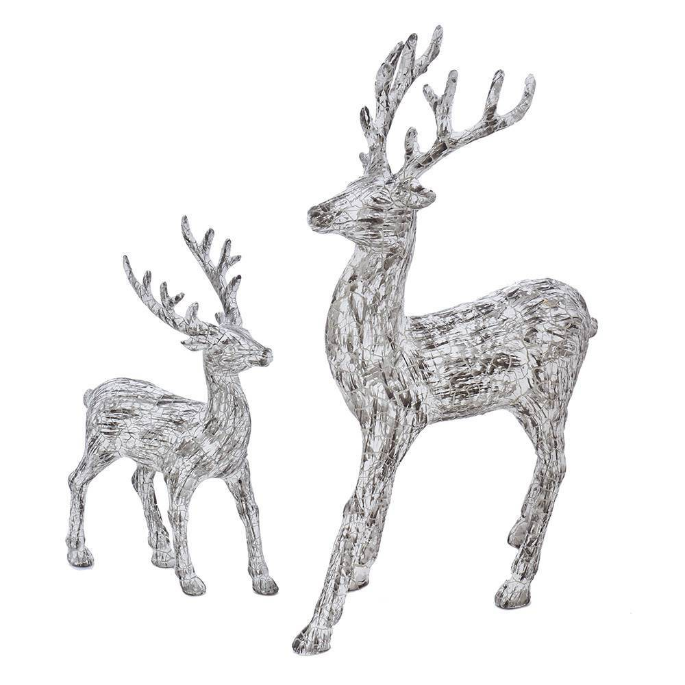 Image of 2pc Kurt Adler Artificial Bark Standing Deer Decorative Sculpture Set White