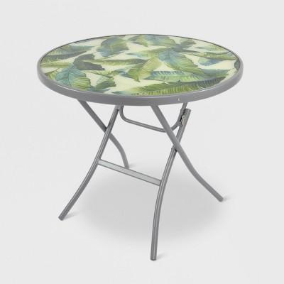 32  Folding Patio Bistro Table Green/White Leaf - Threshold™