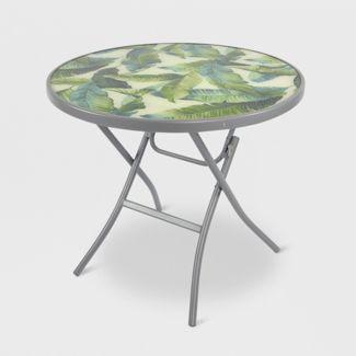 "32"" Folding Patio Bistro Table Green/White Leaf - Threshold™"