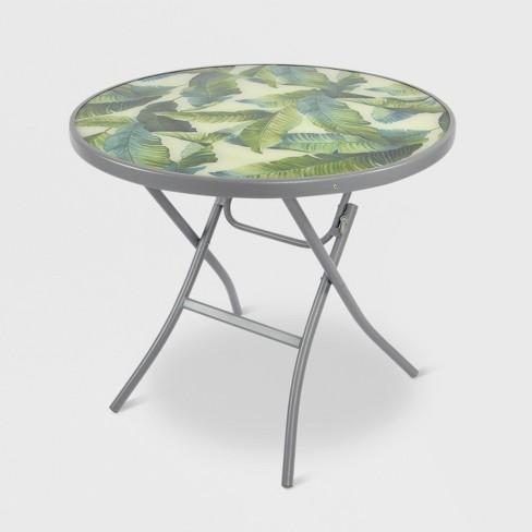 32 Folding Patio Bistro Table Green White Leaf Threshold