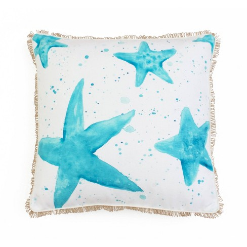 """Dcor Therapy 20""""x20"""" Starfish Splatter Printed Faux Linen Loop Throw Pillow White/Blue - image 1 of 4"""