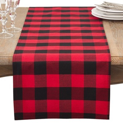 Saro Lifestyle Cotton And Poly Blend Table Runner With Plaid Design