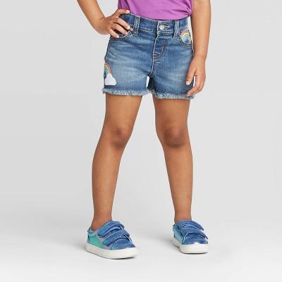 Toddler Girls' Rainbow Sequin Cutoff Jean Shorts - Cat & Jack™ Blue 3T