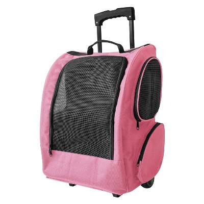 Paws & Pals Pet Rolling Backpack Carrier - Pink