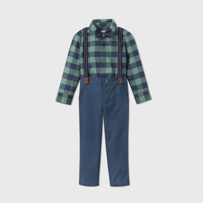 Toddler Boys' 3pc Fall Dressy Plaid Top and Bottom Set - Just One You® made by carter's Green