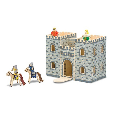 Melissa & Doug Fold and Go Wooden Castle Dollhouse With  Wooden Dolls and Horses (12pc) - image 1 of 4