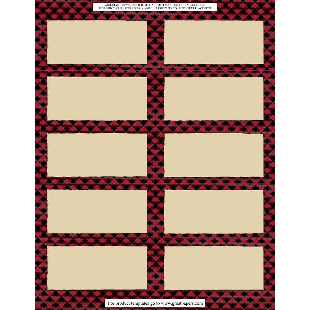 Image of 50 Labels(5 Sheets) Buffalo Plaid Gift And Ship, Red Black