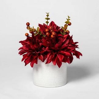 "11"" x 11"" Artificial Dahlia and Berries Arrangement in Ceramic Pot Red/White - Threshold™"