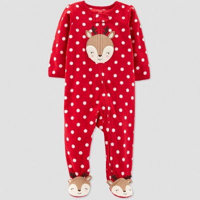 Baby Girls' Dot Reindeer Microfleece Sleep 'N Play - Just One You® made by carter's Red Newborn