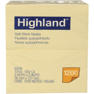 Highland Self-Stick Notes, 3 x 5 inches, Yellow, Pad of 100 Sheets, pk of 12 Pads