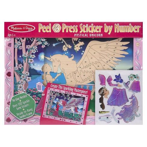 Melissa & Doug Peel and Press Sticker by Number Kit: Mystical Unicorn - 100+ Stickers, Jumbo Frame - image 1 of 4