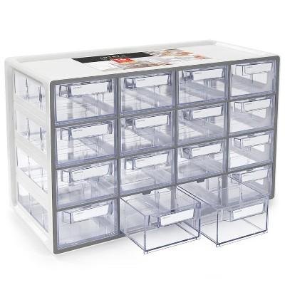 Arteza 16 - Drawer Multipurpose Semi - Clear Storage Cabinet in Gray (ARTZ-4092)