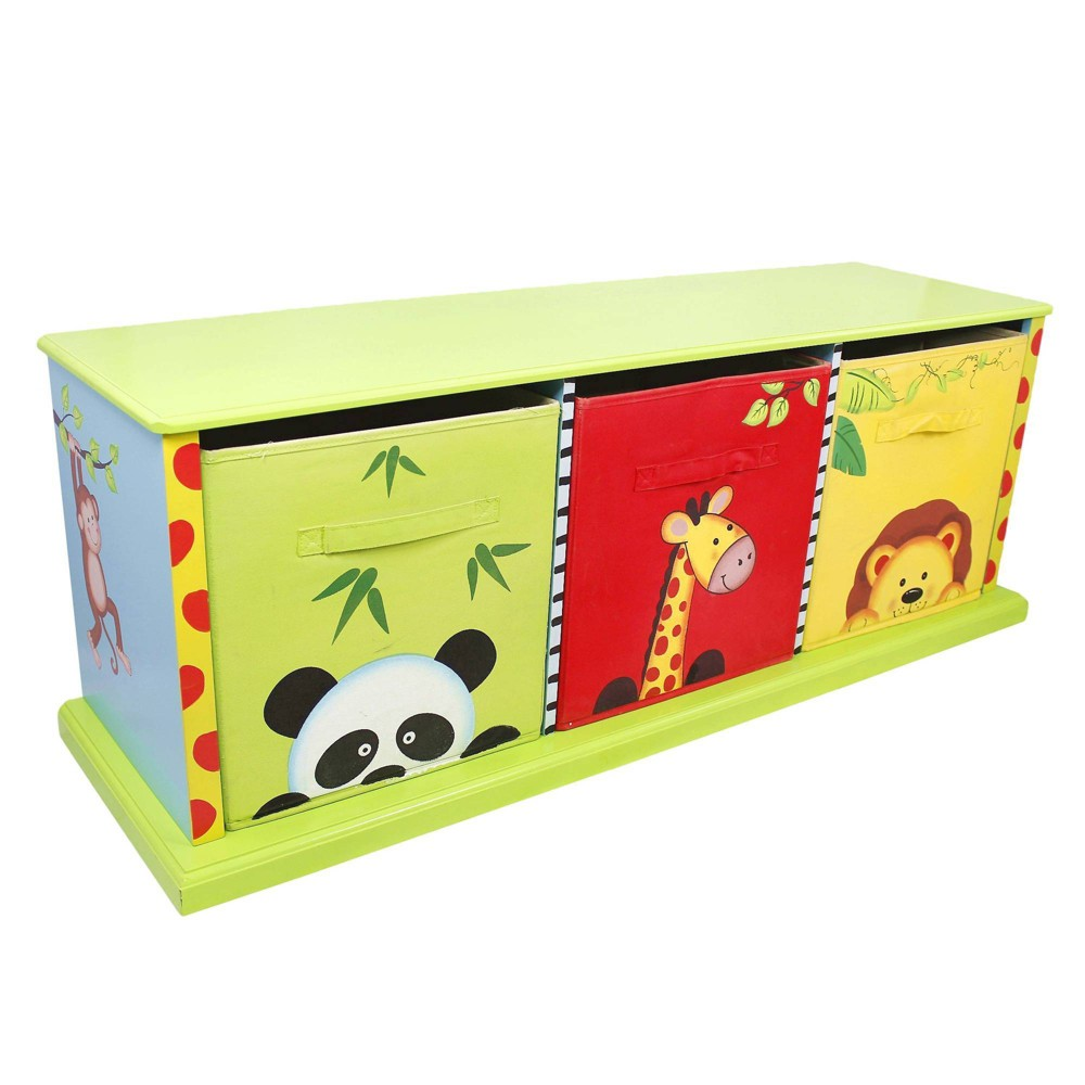 Image of Fantasy Fields Sunny Safari 3 Drawer Cubby Wood - Teamson Kids