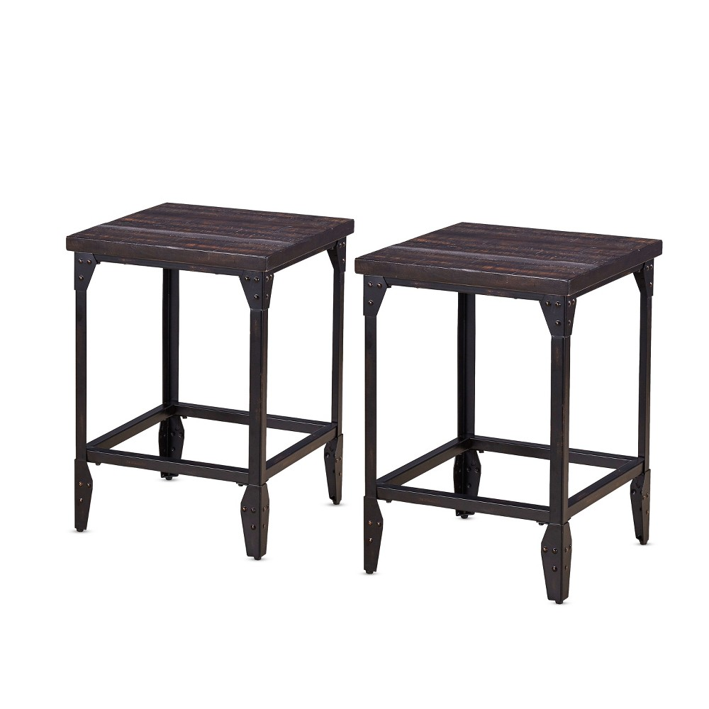 24 Rustic Sherlock Backless Counter Stool Set of 2 Brown - Steve Silver