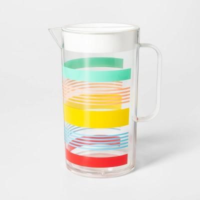 2.4L Plastic Variegated Stripe Drink Pitcher - Sun Squad™