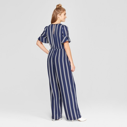 5b7ac966 Women's Striped Short Sleeve Wrap Jumpsuit - Xhilaration™ Navy S
