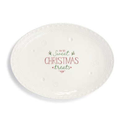 DEMDACO Sweet Christmas Treats Platter White
