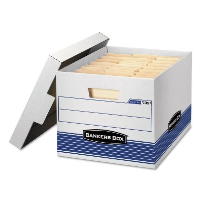 Bankers Box STOR/FILE Med-Duty Letter/Legal Storage Boxes Locking Lid White/Blue 12/CT 00789