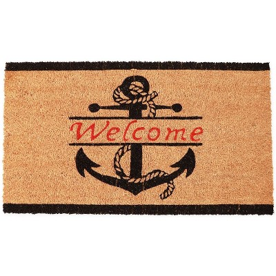 Juvale Natural Coir Welcome Door Mat, Nautical Anchor (17 x 30 in.)
