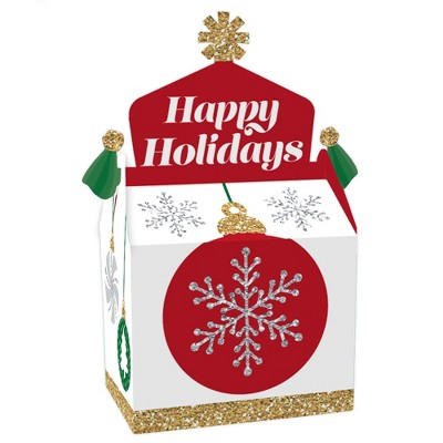 Big Dot of Happiness Ornaments - Treat Box Party Favors - Holiday and Christmas Party Goodie Gable Boxes - Set of 12