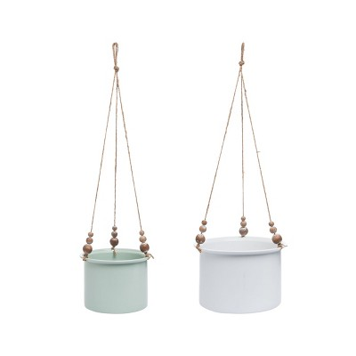 Set of 2 Hanging Planters with Wood Bead Details - Foreside Home & Garden