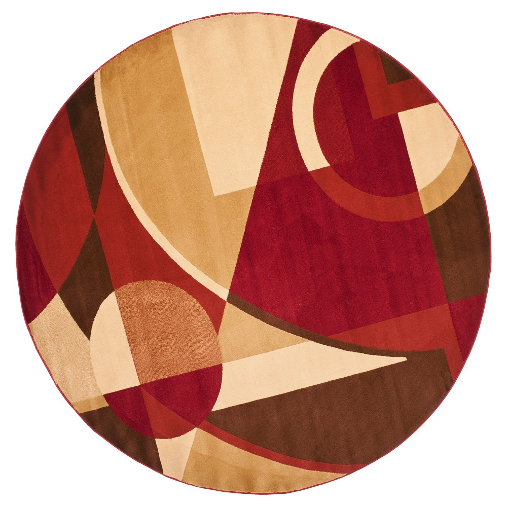 Red/Multi Abstract Loomed Round Area Rug - (7' Round) - Safavieh