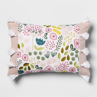 Pink Floral Embroidered Lumbar Pillow - Opalhouse™