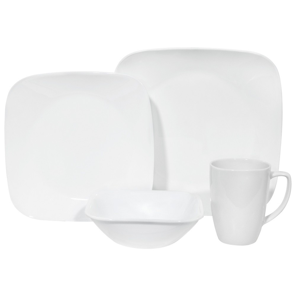 Corelle Square Vitrelle 16pc Dinnerware Set White