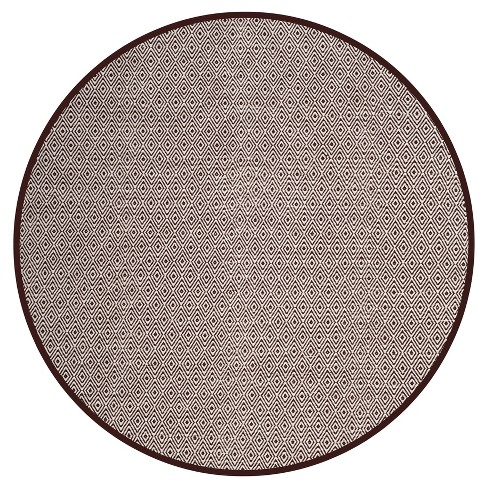 Ivory/Chocolate Stripe Flatweave Woven Round Area Rug - (6' Round) - Safavieh® - image 1 of 3