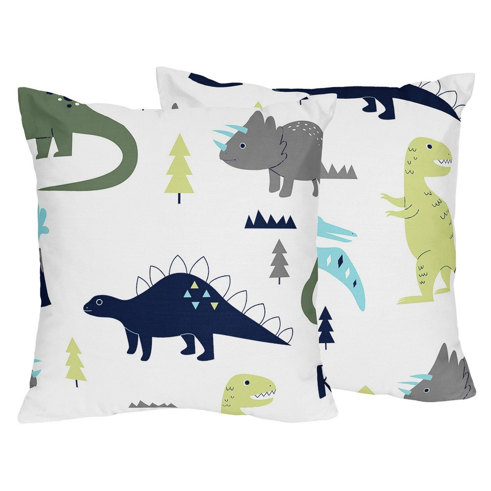 Blue 38 Green Mod Dinosaur Throw Pillow Sweet Jojo Designs
