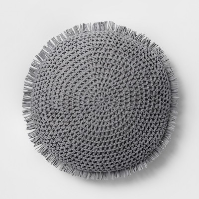 Knit With Fringe Oversize Round Throw Pillow Gray - Opalhouse™