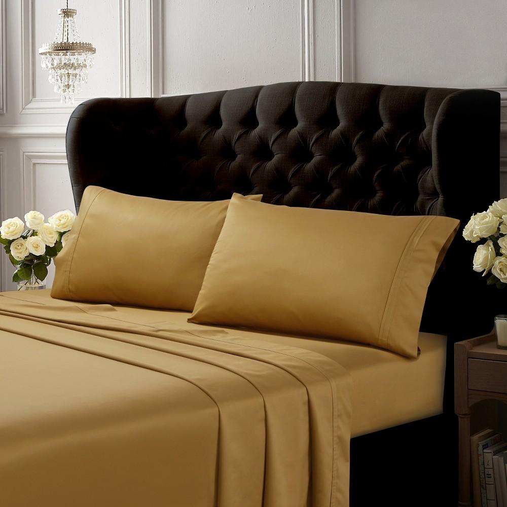 Egyptian Cotton Sateen Deep Pocket Solid Sheet Set (Queen) 4pc Gold 500 Thread Count - Tribeca Living