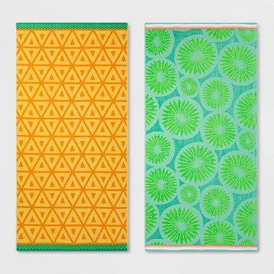 2pk XL Kiwi and Pineapple Beach Towel Set Green/Yellow - Sun Squad™
