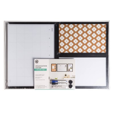 3pc Cork Board Organization Center - Abstract Terracotta/Black Frame - U-Brands