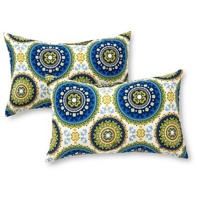 Set of 2 Summer Medallion Outdoor Rectangle Throw Pillows - Kensington Garden