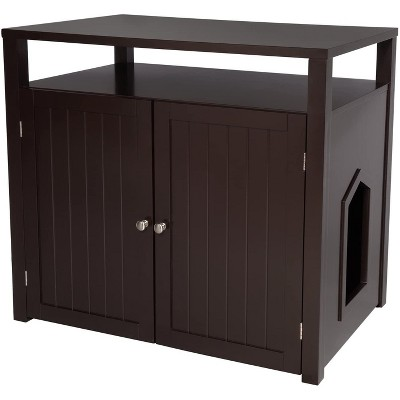 Arf Pets Cat litter Box Enclosure, Furniture Large Box House with Table