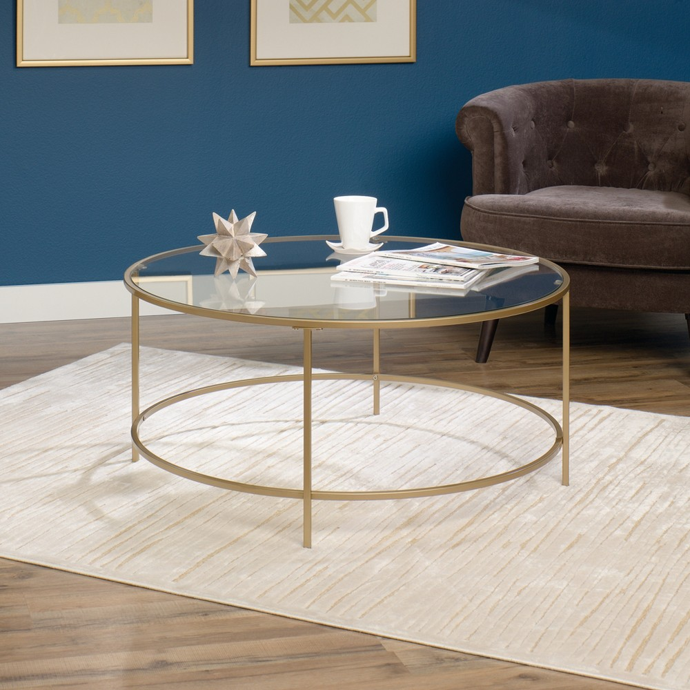 Image of International Luxury Coffee Table Satin Gold/Clear Glass Finish - Sauder, Gold Clear