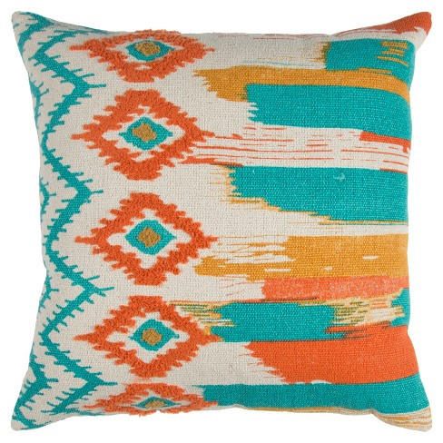 """20""""x20"""" Oversize Boho Ikat Square Throw Pillow - Rizzy Home - image 1 of 2"""