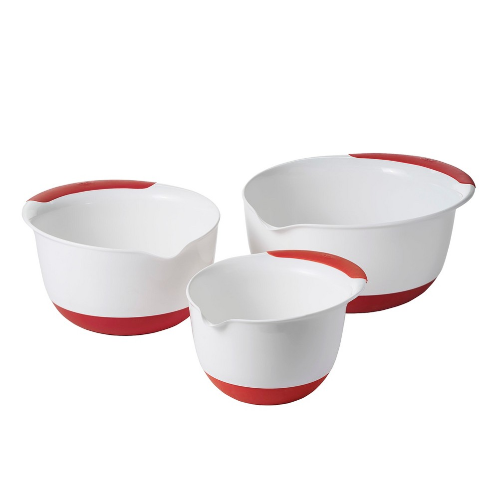 Image of OXO 3pc Mixing Bowl Set with Red Handles