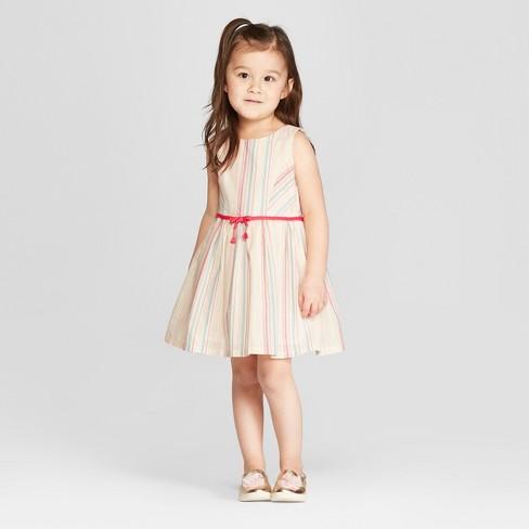 c93ff5333 Genuine Kids® From OshKosh Toddler Girls' Lurex Striped A Line Dress -  Cream : Target