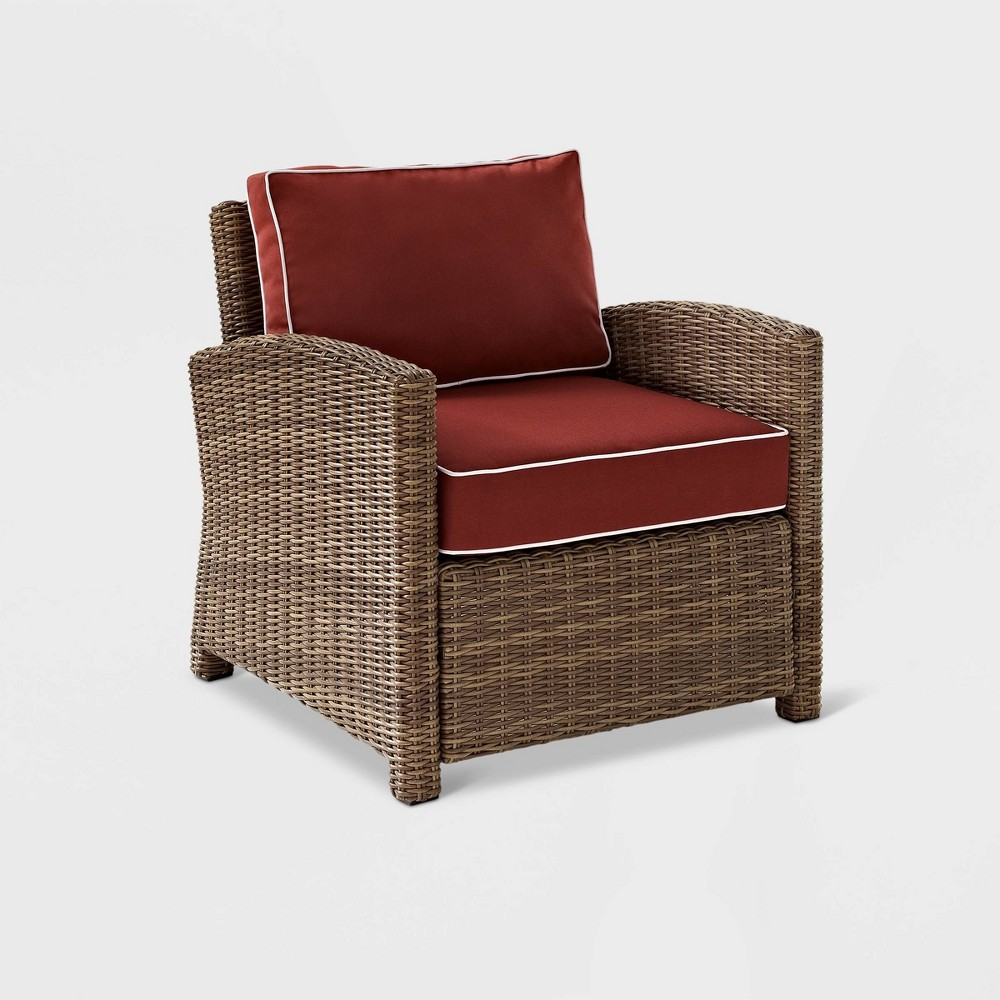 Bradenton Wicker Outdoor Patio Arm Chair - Red/Brown - Crosley