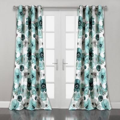 "Set of 2 (108""x52"")Leah Grommet Top Room Darkening Curtain Panels Blue - Lush Décor"