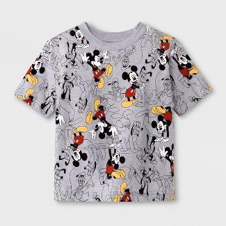 Toddler Boys' Disney Mickey Mouse Print Short Sleeve T-Shirt - Heather Grey 18 M