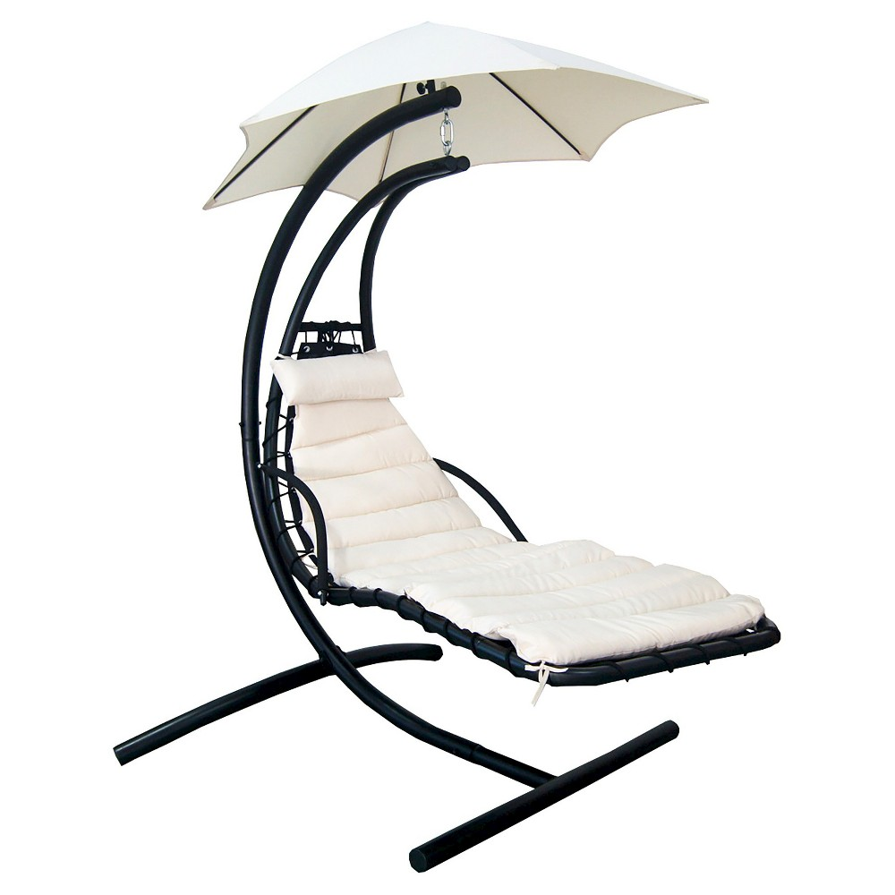 Image of Blue Wave Island Retreat Hanging Lounge With Shade Canopy in Canvas Beige, Blue Beige