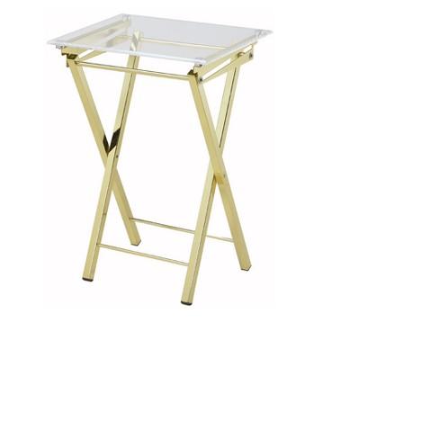 Hamilton Home Mari Folding Tray Table In Gold Set Of 2 Clear
