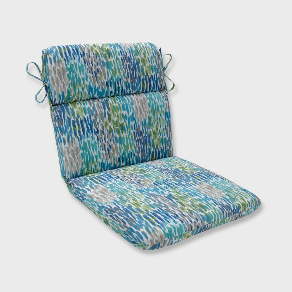 Make It Rain Rounded Corners Outdoor Chair Cushion Cerulean Blue Pillow Perfect